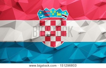 Low poly illustrated Croatia flag. 3d rendering.