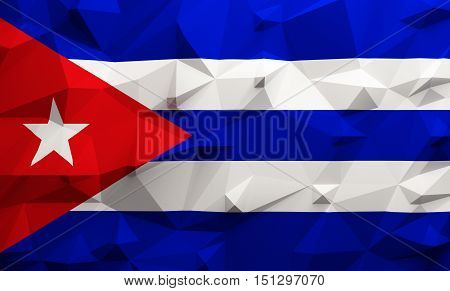 Low poly illustrated Cuba flag. 3d rendering.