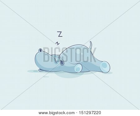 Vector Stock Illustration isolated Emoji character cartoon Hippopotamus sleeps on the stomach sticker emoticon for site, info graphics, video, animation, websites, e-mails, newsletters, reports, comic
