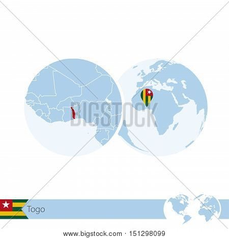 Togo On World Globe With Flag And Regional Map Of Togo.