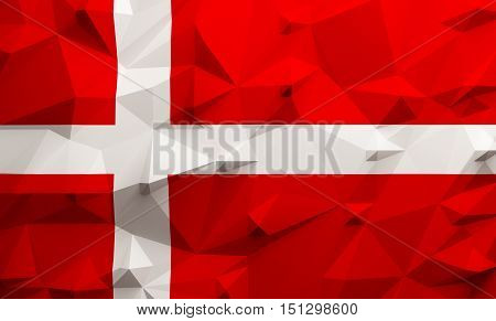 Low poly illustrated Denmark flag. 3d rendering.