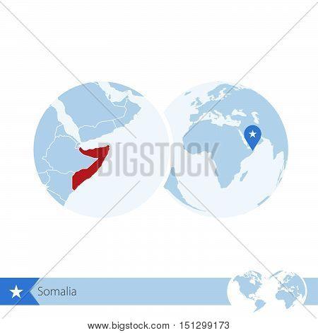 Somalia On World Globe With Flag And Regional Map Of Somalia.
