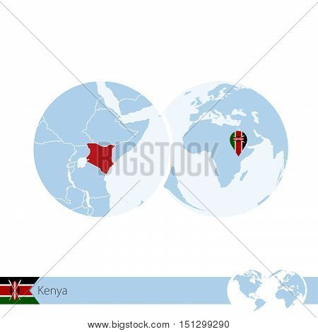 Kenya On World Globe With Flag And Regional Map Of Kenya.