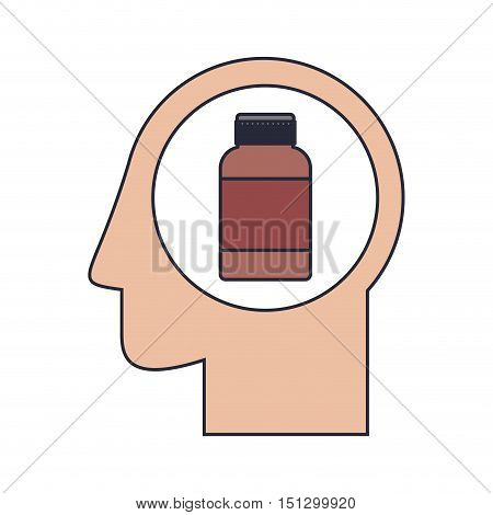 Silhouette head human with remedy bottle vector illustration