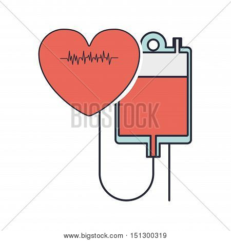 hanging bag blood conected red heart beat vector illustration