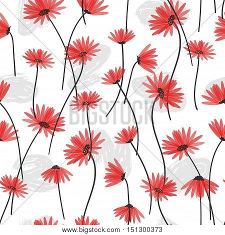 Delicate red flowers seamless pattern. Vector floral background.