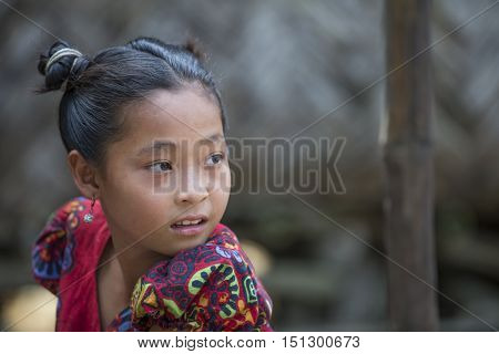 Chittagong Bangladesh February 25th 2016: young bangladeshi girl in rural area of the country