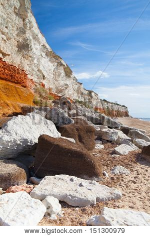 Hunstanton Cliffs in Norfolk.Great Britain.The famous striped cliffs of Hunstanton were formed during the Cretaceous period
