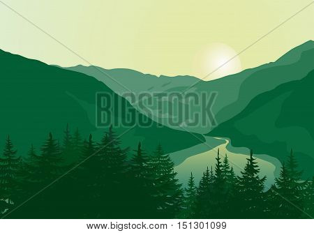 Beautiful sunrise in a mountain river canyon. Vector illustration.