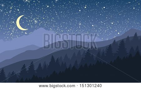 Night mountain landscape with new moon and stars. Vector illustration.