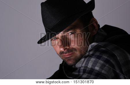 Nice Emotional Portrait of a Handsome Italian man On Grey