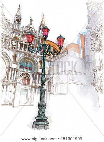 Venice. Italy. Lantern on St. Mark's Square. Vector color illustration