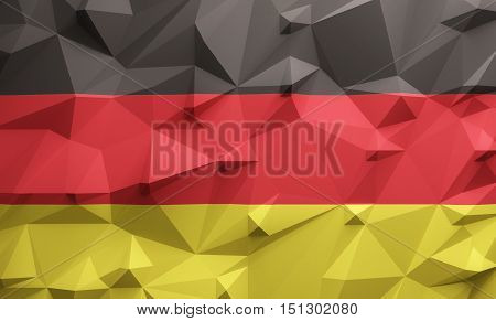 Low poly illustrated German flag. 3d rendering.