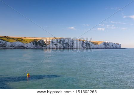 The white cliffs of Dover from the sea England
