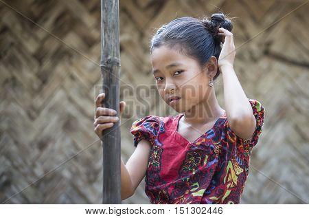 Chittagong Bangladesh February 25th 2016: bangladeshi girl in a remote village