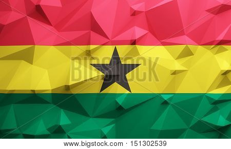 Low poly illustrated Ghana flag. 3d rendering.