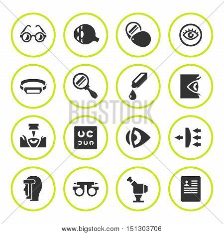 Set round icons of ophthalmology and optometry isolated on white. Vector illustration
