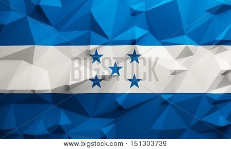 Low poly illustrated Honduras flag. 3d rendering.