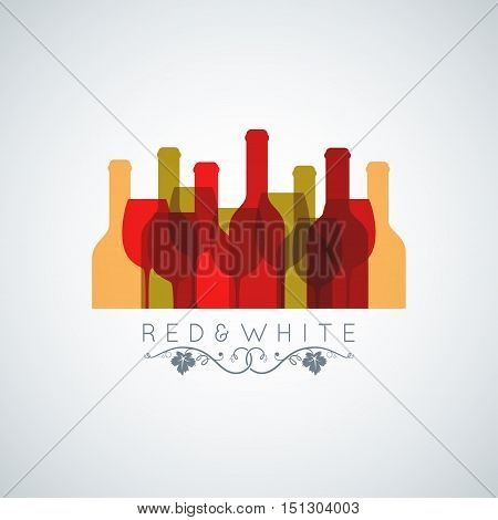 wine glass and wine bottle abstract background 10 eps