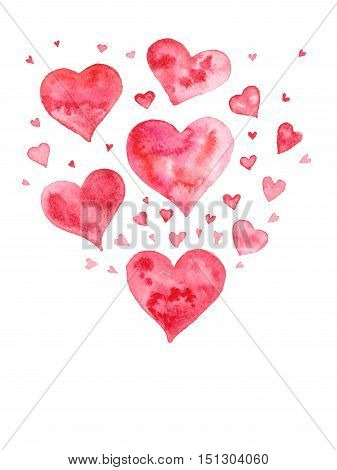 Abstract watercolor red hearts little snd big. Illustration on white background.