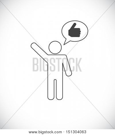 person thumbs up in speech bubble icon