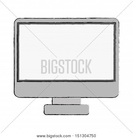 monitor monochrome screen with base vector illustration