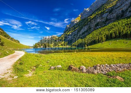 View To Tourquise Clear Seealpsee With The Swiss Alps (mountain Santis) In The Background, Appenzell