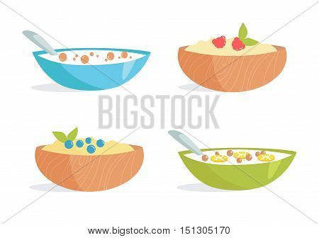 Healthy Breakfast. Porridge, cereal, berries, milk, fruit. Vector illustration. Cartoon Isolated on white background Illustrations for cooking site menus books