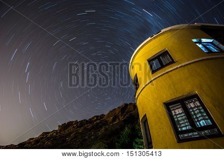 Long exposure photography on the Polar Star creating star trails