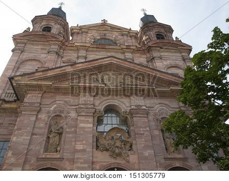 The facade of the Jesuit Church in Mannheim in germany