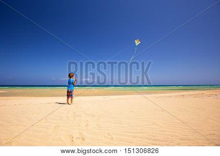 Little Boy Flies A Kite On A Beach.
