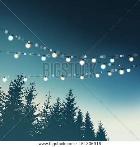 Hanging decorative holiday party lights. Christmas birthday wedding garden party greeting card invitation. Forest spruce tree silhouettes against the night sky. Vector illustration background.