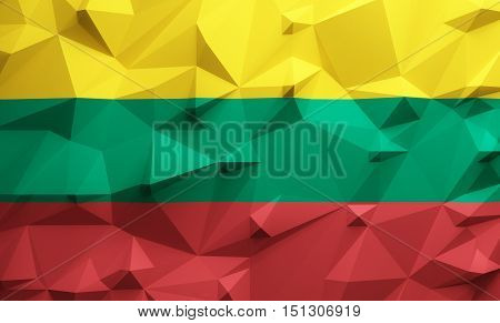 Low poly illustrated Lithuania flag. 3d rendering.