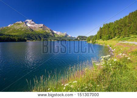 Lenzerheide Village With Haidisee In Swiss Alps