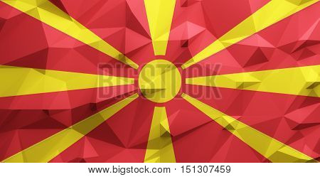 Low poly illustrated Macedonia flag. 3d rendering.