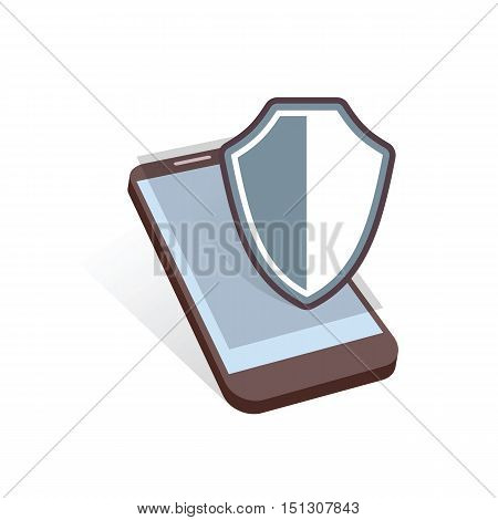 mobile device shield security symbol vector illustration