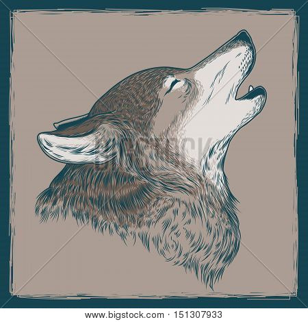 Vector illustration of a howling wolf. Print for T-shirts.