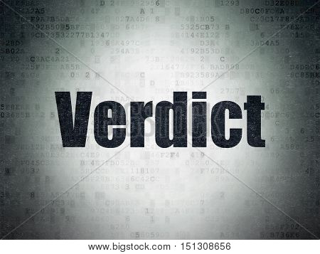 Law concept: Painted black word Verdict on Digital Data Paper background