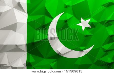 Low poly illustrated Pakistan flag. 3d rendering.