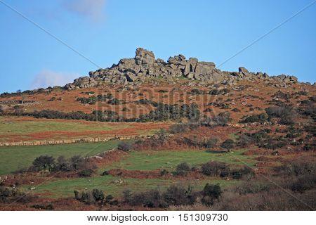 granite tor on Dartmoor in Devon, England