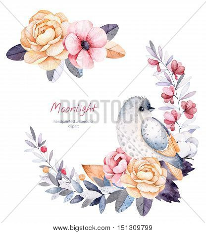 Beautiful winter collection with branches,cotton plants,flowers,little bird,colorful leaves.
