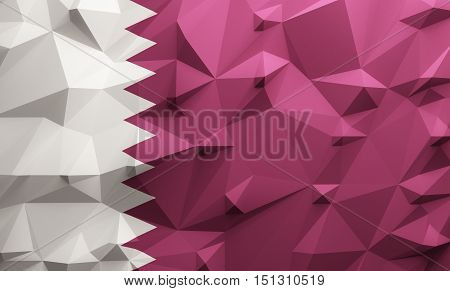 Low poly illustrated Qatar flag. 3d rendering.