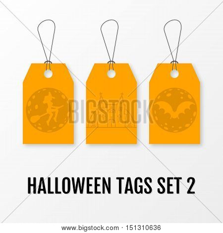 Halloween sale tags set vector isolated templates. Sale sticker with halloween elements moon, bat, crosses, castle church, graves, witch on a broomstick. Illustration for 31 october.
