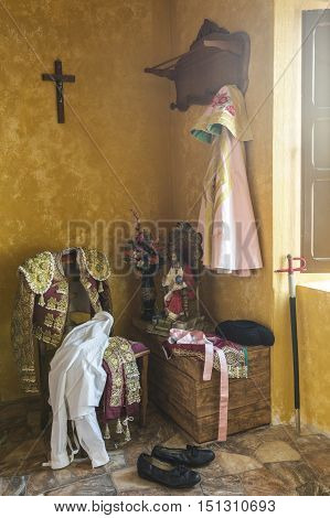 I brought toreador's on an old chair Andalusian classic bullfighting stage interior house in andalucia Spain