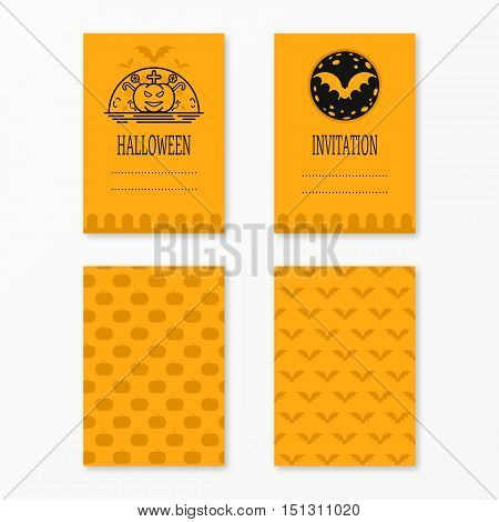 Happy halloween invitations set templates with bats, moon, pumkin, cross, candies . Night party design for banner, invitation, menu, greeting card, flyer, poster templates. Place for your text. Vector illustration 31 october