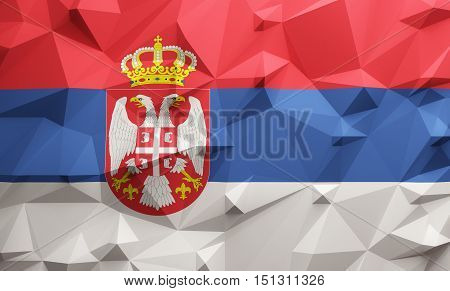 Low poly illustrated Serbia flag. 3d rendering.