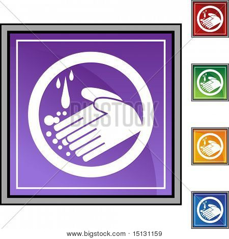 Handwashing button isolated on a background.