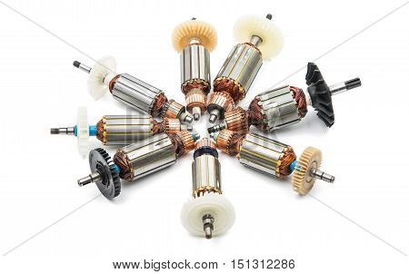 Electric motor rotor electromagnet isolated white background