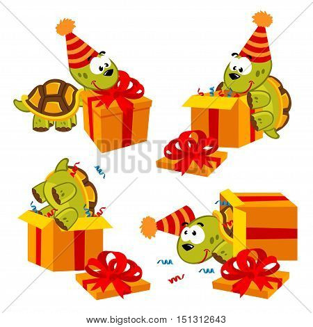 turtle birthday and gift - vector illustration, eps