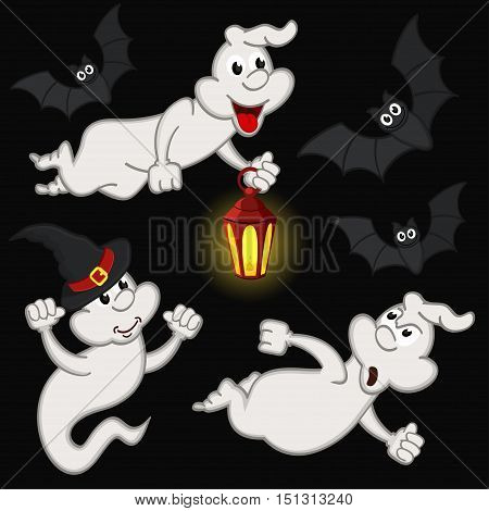 halloween with ghost and bats - vector illustration, eps